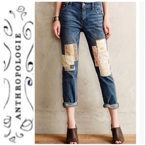 Anthropologie Pilcro Hyphen Patched Crop Jeans 30